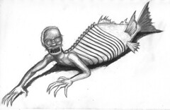 fiji merman pencil sketch (ashley russell 676) Tags: fiji merman feejee mermaid circus sideshow freakshow exhibit barnum oddity drawing illustration sketch pencil taxidermy spcimen alligator farm