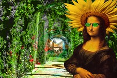 Mona Visits the Alhambra (Rusty Russ) Tags: mona lisa alhambra sun glasses flower hat travel spain green photoshop flickr google bing daum yahoo image stumbleupon facebook getty national geographic magazine creative creativity montage composite manipulation color hue saturation flickrhivemind pinterest reddit flickriver t pixelpeeper blog blogs openuniversity flic twitter alpilo commons wiki wikimedia worldskills oceannetworks ilri comflight newsroom fiveprime photoscape winners all people young photographers paysage artistic photo topaz filter
