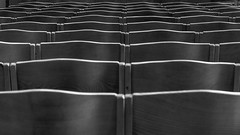 (Wooden) Waves (deborahb0cch1) Tags: monochrome abstract blackandwhite waves chairs lines line curves curve geometric pews