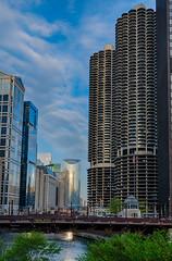 Urban Canyon (tquist24) Tags: chicago chicagoriver hdr illinois marinatowers nikon nikond5300 wabashavenuebridge architecture bridge city cityscape clouds geotagged morning river sky skyscraper skyscrapers window windows unitedstates