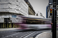 Hover bus (tootdood) Tags: canon70d cross street manchester slow shutter blur movement bus omnibus public transport time delay hover