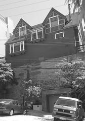 (sftrajan) Tags: russianhill sanfrancisco blackandwhite bw architecture greenstreet california 1135greenstreet retainingwall regrade