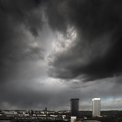 The cloud and Salt and Pepper Towers (photomatic.se) Tags: ifttt 500px sky street clouds architecture cityscape beautiful black sweden noir dramatic stockholm stockholms län