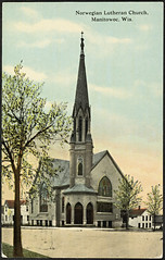 Norwegian Lutheran Church, Manitowoc, Wisconsin (National Library of Norway) Tags: nasjonalbiblioteket nationallibraryofnorway postkort postcards kirker churches wisconsin manitowoc norwegianlutheranchurch
