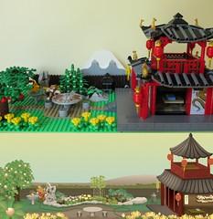 Comparison at 11:00 (yetanothermocaccount) Tags: lego moc ninjago chinese asian tea kungfu park garden architecture ideas river rush fish google gmail