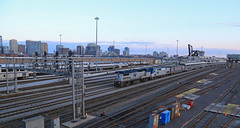 Blue hour Yard Job (GLC 392) Tags: amtk 52 57 517 117 204 ge p42dc b328w amtrak passenger train blue hour yard job signals chicago il illinois downtown down town clouds sky