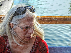 Serious Moment (Chris C. Crowley- Editing for the next month or so) Tags: seriousmoment sarah friend woman sunglasses dock marina boat water river ripples portrait candidportrait