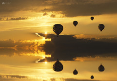 Golden calm... (Kerriemeister) Tags: composite composition digital art photomanipulation imagination fantasy hot air balloon reflection reflected reflections water golden hour clouds sky