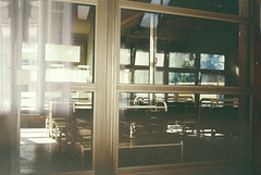 Waiting room (Moesko Photography) Tags: analogue minolta7s glass sárospatak reflection abstract geometry light sunshine ambient city morning