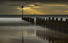 Guiding Light (Pureo) Tags: beach blyth blythbeach groyne goldenhour glow reflections rays clouds dawn sunrise seascape sand longexposure le golden canon canon6d canondslr coast sea northeast northumberland northsea northeastengland