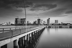 Woodlands Waterfront 2017 (draken413o) Tags: singapore woodlands waterfront park johor bahru malaysia skyline skyscrapers jetty pier monochrome black white long exposures lee filters bigstopper cityscapes architecture canon 5dmk4 24mm tse mk2 urban places scenes asia travel destinations wow morning