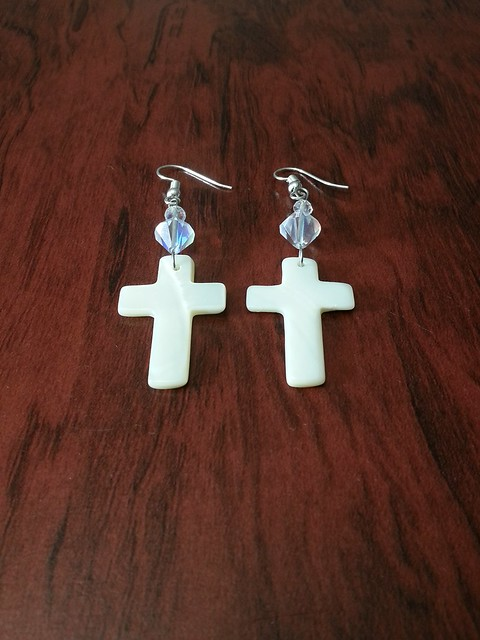 Mother of Pearl Cross Earrings - Not available for sale. Please contact me for special requests.
