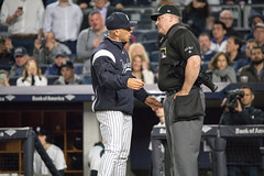 Yankees manager Joe Girardi is ejected for arguing a called strike during the seventh inning. (apardavila) Tags: joegirardi mlb majorleaguebaseball newyorkyankees yankeestadium yankees yanks baseball sports