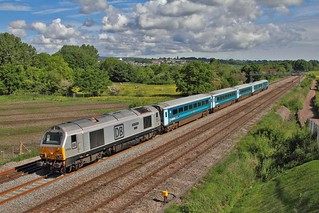 67029 passes Duffryn West of Newport working 1V91 Holyhead - Cardiff 19-05-2017