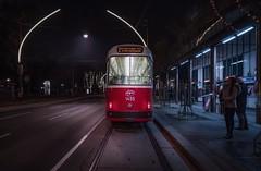 The Red Transport (karinavera) Tags: travel sonya7r2 vienna wien red austria street night people transport urban