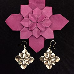 Origami hydrangea and matching silver earrings (Silverorigami) Tags: flower silver earrings jewelry origami hydrangea