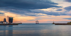 Ship leaving the harbour.jpg (___INFINITY___) Tags: 135mm 6d aberdeen boat harbour canon clouds darrenwright dazza1040 eos f2 infinity pacorabanne samyang135mmf2 scotland seascape ship sky sunset water