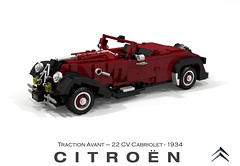 Citroen Traction Avant 22CV Cabriolet - 1934 (lego911) Tags: citroen traction avant 22 22cv cv cabriolet convertible 1934 1930s classic vintage v8 ford france french auto car moc model miniland lego lego911 ldd render cad povray luxury lugnuts challenge 115 thefrenchconnection connection foitsop