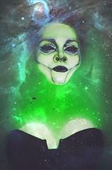 AAW_6677_2 (Captain Nots) Tags: alien space stardust cosmic green blue water floating makeup mua black blackeyes neon scary horror creepy bathtub milkbathshoot