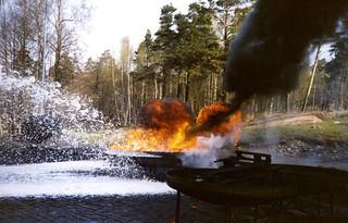 Palokoulutusta Upinniemessä 1980-luvun lopulla