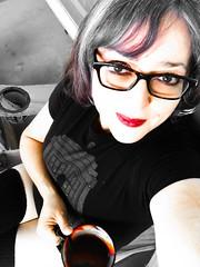 Crimson Ash (BenitaMarquez) Tags: girlsinglasses girl glasses tshirt doctorwho tardis socks grey gray beverage drink cup monochrome white black bw mouth sexy human woman selfportrait selfie lipstick lips redlips red