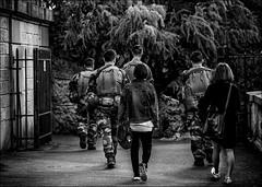 Suivi sécuritaire.../ Follow the security... (Explore) (vedebe) Tags: noiretblanc netb nb bw monochrome humain people soldats ville rue street urbain city