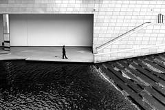 Of water and concrete (pascalcolin1) Tags: paris homme man water eau béton concrete photoderue streetview urbanarte noiretblanc blackandwhite photopascalcolin fondationvuitton