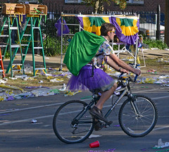 Purple Tutu on a Bicycle (BKHagar *Kim*) Tags: bkhagar mardigras neworleans nola la louisiana parade street carnival outdoor celebration party beads people napoleon uptown