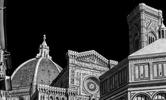 All The Elements Together (derek.dpr) Tags: florence firenze italy italia architecture architectural duomo campanile baptistry bw black bianco streetscene streetview stonework marble sony rx100 dscrx100m3 nero noir monochrome mono