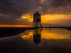 The Magical Hour (RS400) Tags: burnhamonsea burnham sea water reflection sky clouds dark sun set golden hour wow cool amazing wicked orange yellow olympus beach light house people uk southwest somerset magic