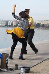 dancing in yellow (Nikos Karatolos) Tags: dance thessaloniki greece yellow dancing streetphotography street artists music movement color