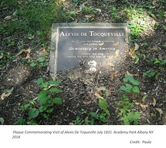 Plaque  Academy Park commemorating visit of Alexis DeToqueville to Albany NY  July  1831 (albany group archive) Tags: 1830s old albany ny vintage photos photo history historic historical photograph