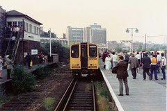 19860627 042 Broad Street. Final Day, Final Train. 313008 Arrived With The 17.22 Ex-Watford Junction, Which Will Form The Last Ever Departure, The 18.37 To Watford Junction (15038) Tags: railways trains br britishrail electric emu class313 londonbroadstreet 313008 lostlines disused lastday finaltrain
