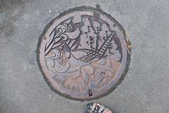 Taishin-mura manhole (Stop carbon pollution) Tags: japan 日本 honshuu 本州 touhoku 東北 fukushimaken 福島県