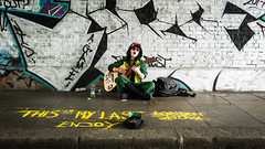 This Is My Last London Show (Sean Batten) Tags: eastlondon london england unitedkingdom gb busker music musician streetphotography street shoreditch nikon df 35mm city urban pavement tunnel wall graffiti guitar