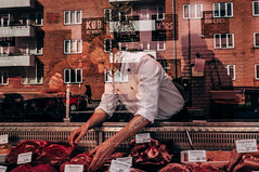 MEAT! (Thomas Listl) Tags: thomaslistl color street meat butcher red mirror reflection glass denmark copenhagen people greed