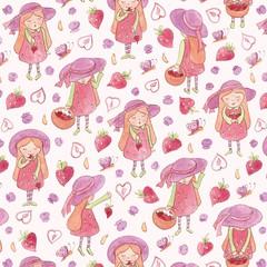 Whimsical Strawberry girls (lauraflorencedesign) Tags: strawberry whimsical whimsy watercolor watercolour strawberries strawberrypicking girls fabric design illustration painting spoonflower challenge fruit blueberry blueberries butterfly summer fruits pastel wallpaper giftwrap fat quarter