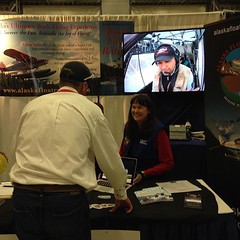 My float flying video on display at an aviation trade show in Alaska. Glad it is coming of some use to the school. Photo by @ibpdanza #avgeek #aviation