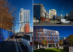 Poscard from Christchurch (Jocey K) Tags: newzealand southisland christchurch architecture buildings rebuild trees cars street roads crowneplazarenovations nikond750 cbd postcard collage autumn