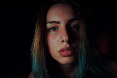 (elizamarie0320.) Tags: redhair red hair blu blue bluehair girl light low lowlight portrait self selfportrait