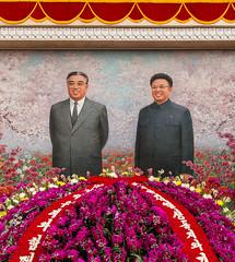 Mosaic of Kim Il-sung and Kim Jong-il, Flower Exhibition, Pyongyang. (e.w. cordon) Tags: travel ewcordon asia northkorea kimilsung kimjongil korea worldtravel flowers