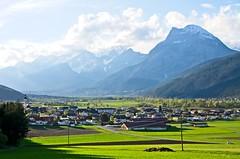 Inn Valley Tyrol (elzbietafazel) Tags: mieminger gebirge range summits tyrol tirol austria mountains alps alpine landscape inn valley telfs spring rural village peaks hatting church field area view scenic cloudy sky hohemunde