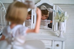 """My ribbon looks okay?"" (cute-little-dolls) Tags: ruruko rurukodoll ccsgirl ballerina mirror reflection kawaii cute toy"