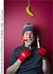 The Birthday Banana Of Damocles – For Xavier J. Peg (jwvraets) Tags: birthday xavierjpeg parody tribute banana bananaofdamocles swordofdamocles scream carrot candle red toque gloves strobist opensource rawtherapee gimp nikon d7100 nikkor18105mmvr nostrobistinfo removedfromstrobistpool seerule2 redrule