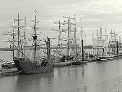 Tall ships moored -Black and white 2 (Alan Wiltcher) Tags: aperturewoolwich roundtheworld naovictoria replica woolwich2017 ships tallships