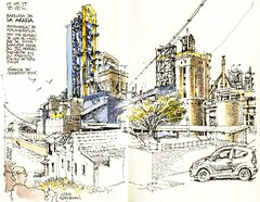 Málaga, cement plant (Luis_Ruiz) Tags: cement plant industrial factory urbansketchers sketchbook ink pen watercolour