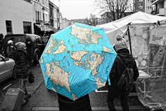 I Believe It's Raining All Over The World (diminji (Chris)) Tags: london lovelondon portobelloroad umbrella brolly people hdr hdrtoning selectivecolour blackwhite