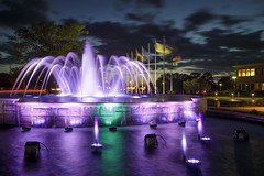 Shelter Fountain (Notley) Tags: httpwwwnotleyhawkinscom notleyhawkinsphotography notley notleyhawkins 10thavenue evening bluehour longexposure fountain water reflect reflections 2017 may columbiamissouri missouri shelterinsurance night sky clouds ledlights led