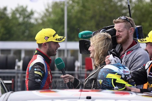 Jack Goff is interviewed by ITV's Louise Goodman after his third place at Thruxton, May 2017