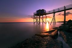 Sunset sur un carrelet (Dg.63) Tags: sunset seascape light sun rocks sea blue longexposure bridge reflexion canon 6d sunshine water nature ngc wow brillant